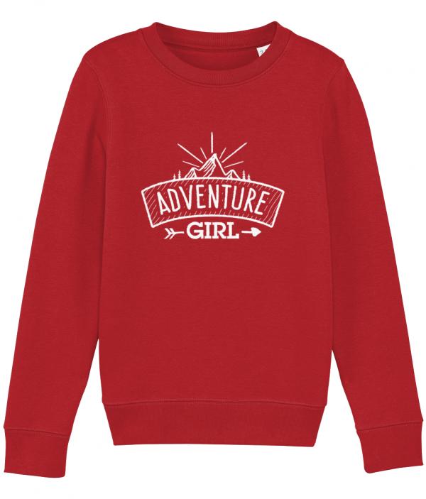 Adventure Girl sweatshirt bright red